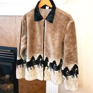 Vintage HORSE Border Velvet Collar Full Zip Jacket